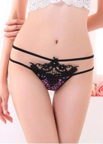 Leopard Embroidered Thong