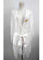 Embroidered Robe with Belt BY1056 ( Red, Black, White)