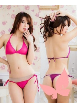 Transparent Bikini Set with tie side panty ( Red, Pink, Black, Purple)