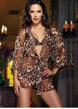 Leopard Robe with Bra and Panty